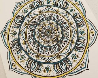 Custom Hand Drawn Mandala, Ink on Linen Cardstock