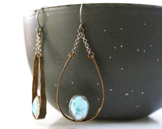 Brass and Silver Larimar Teardrop Chandelier Earrings