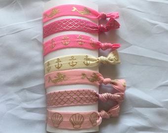Elastic Hair Ties - Pink Elastic Hair Ties - Mermaid Hair Ties - Creaseless Hair Ties - Girl Hair Ties - Anchor Hair Ties - Shell Hair Ties