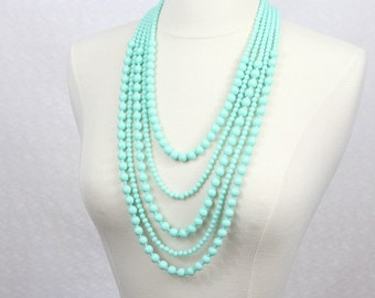 Multi Strand Beads Necklace Statement Necklace Multi Layered Beaded Long Necklace Chunky Necklace Mint Green