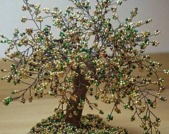 Beaded bonsai tree tabletop Gold tree sculpture handmade Wire wrapped tree Gifts handmade decorative Home decor Metal art