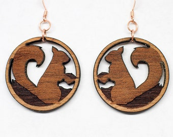 Squirrel w/ Acorn Wood Cutout Earrings - Handmade from Mahogany |  Nature Earrings, Wood Dangle, Squirrel Earrings, Gifts for Her