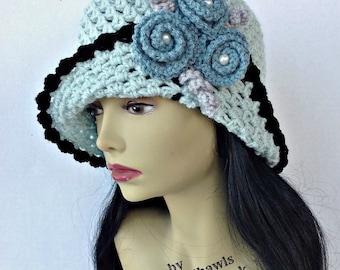 Crochet Hat Pattern Vintage RoseHat