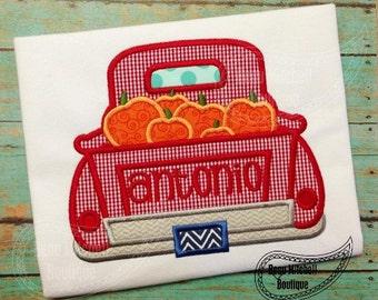 Truck with Pumpkin Applique Embroidery Design