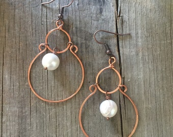 Hammered Copper and Freshwater Pearl Earrings