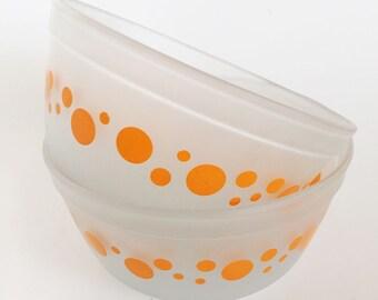 Vintage Anchor Hocking Orange Satin Dot Nesting Bowls, Pair of Mixing Bowls, Acid Glass Finish