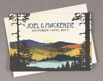 Navy and Gold Fall Appalachian Mountains 5x7 Wedding Invitation with Envelope - TE1