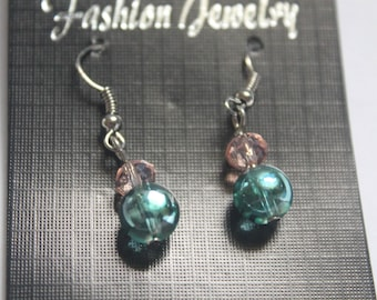 2 Green bead earrings #sale