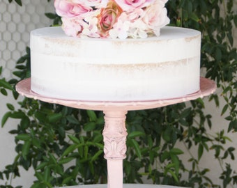 Pink Wedding Cake Stand / Cupcake Stand Pink Shabby Chic 13 inch Vintage Reclaimed Serving Platter