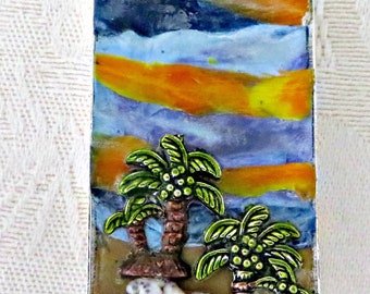 Jewelry_mixed media beach pendant necklace palm tree necklace_mothers day gifts