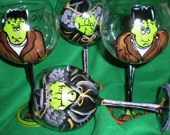 Hand painted original Halloween set of 4 goblets. painted in 2 of each...Fun frankenstein and frisky witch. Boo to you!!!