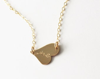 Side Heart Necklace, Heart Initial Necklace, Rose, Silver or Gold Initial Necklace, Monogram Necklace, Personalized Necklace, Gift for Wife