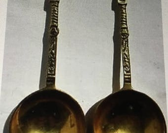Vintage Matching Pair of Brass Spoons with Figure Finials