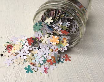 Mini patterned paper flowers, paper flower punches, flower confetti, die cut flowers pack of 100, assorted colors, 15mm