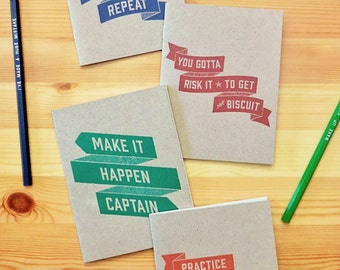 Wise Words Pack of Notebooks, set of travel journals, bulk notebooks, multi friend gift, journal & pencil, stapled, explicit, tv show quotes