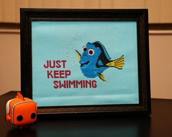 "Finding Dory ""Just Keep Swimming"" *Cross Stitch PATTERN DOWNLOAD*"