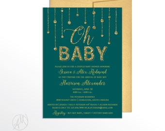 Gold Glitter Gender Reveal Invitation, Oh Baby Teal Shower Invitations, Gender Neutral Baby Shower Invitation, Teal and Gold Baby Shower