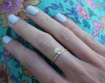 Opal ring, shell ring, mermaid ring, gold opal stacking ring, midi ring