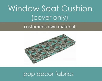 Window Seat Cushion Covers - Customers Own Material COM - Design Your Own Bench Window Seat Cushion Covers - Cushion Covers with Cording