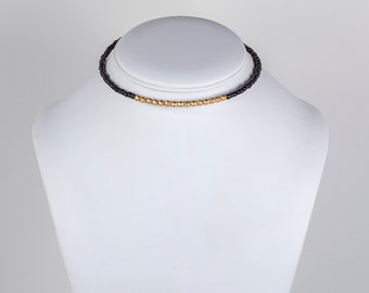 Minimal Beaded Choker Necklace Black and Gold or Turquoise and Gold Beaded Necklace