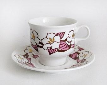 Stunning vintage Jasmin tea / coffee cup and matching saucer by Margaretha Hennix Lisa Larson for Gustavsberg