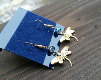 Blue Crystal and Gold Dragonfly Fashion Earrings - Womens Jewelry - Gifts for Mom