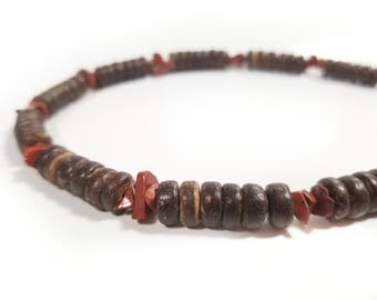 Men's wooden necklace made from brown coconut shell and gemstone - Red Jasper