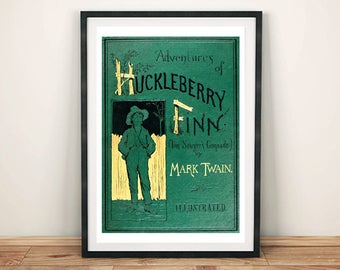 HUCKLEBERRY FINN PRINT: Vintage Book Cover Art Print