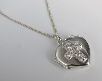 Heart Locket with chain, cross design with CZ