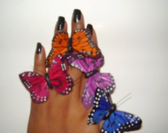 MONARCH BUTTERFLY RING - Feather Butterfly Adjustable Ring, Weddings, Spring, Summer, Hand Made