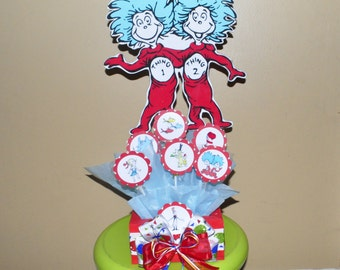 Dr. Seuss inspired Candy Centerpiece, Thing 1 & thing 2