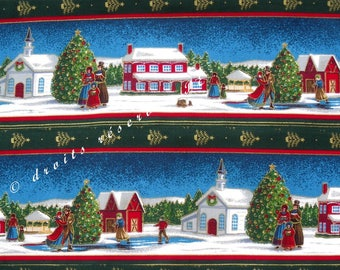 Coupon Patchwork fabric Strip Christmas SINGERS and SKATERS