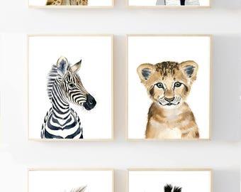 Baby Animal prints, Nursery Print Set 6, Safari Nursery Art Prints Baby Animal Print  Baby Elephant Safari Nursery decor Babt animal art