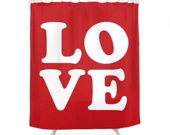 Love Shower Curtains, 2 Color Options, Red, White, Modern Typography Design, Home Decor, Vintage Art, Pop Art, Romantic Bathroom Decor
