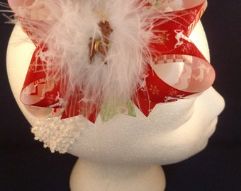Christmas Reindeer Red Over-The-Top Hair Bow Hairbow