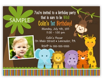 Wild Jungle Theme Birthday Party Invitation -Boy Or Girl- (You Print)