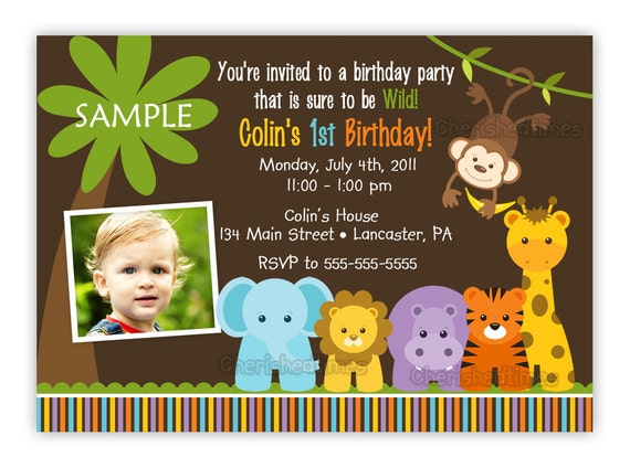 Wild Jungle Theme Birthday Party Invitation Boy Or Girl You