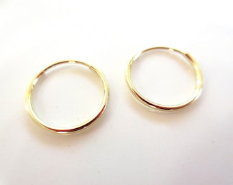 SALE 14K Yellow Gold Endless Hoop Earrings 12mm and 16mm