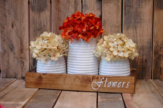 Flowers stencil honey pot rustic box table centerpiece like this item junglespirit Image collections
