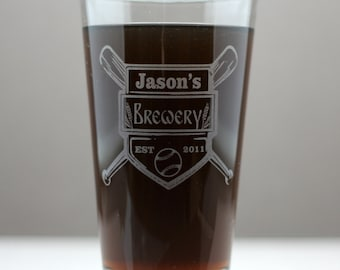 Home Brew Personalized Baseball themed Pint Glass, home brew gift, homebrew, beer gift, personalized gift, custom home brew glass
