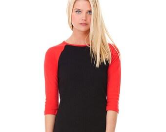 Women's 3/4 Sleeve Baseball Tee - Custom Colors for Any Design in Our Shop - Ladies Raglan Tee
