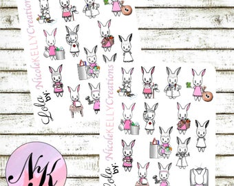 Exclusive custom character Stickers, 14 Stickers, Lola sticker, Bunny Stickers, use with Erin Condren Planner(TM), Happy Planner,Planner