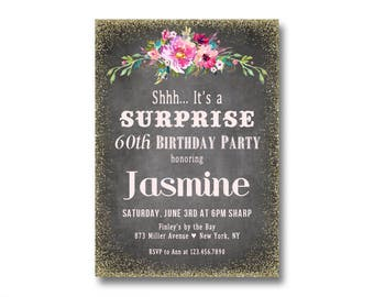 60th birthday invitations surprise 60th birthday party adult surprise party invitations surprise 60th birthday or any age womens milestone birthdays 30th filmwisefo