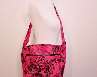 Large cross-body bag, Pink Rose with gold accents messanger bag, Large cross body bag, cross-body bag, pink cross body bag, floral bag