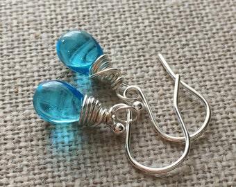 Aqua Blue Drop Earrings. Blue Bead Sterling Silver Earrings. Blue Briolette Drop Wire Wrapped Earrings