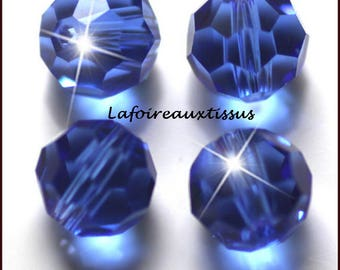 x 10 round blue Sapphire Crystal 6 mm