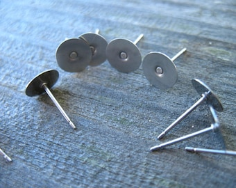 5 pairs Titanium Earring Posts with 8mm Flat Pad