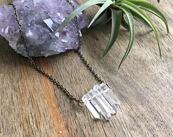 Quartz Pan Necklace - Raw Quartz Necklace - Quartz Point Necklace - Quartz Bar Necklace