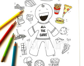 carb monster - coloring page - coloring download - coloring sheet - coloring illustration - coloring drawing - printable coloring page