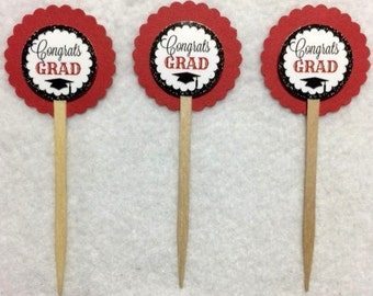 ANY YEAR Set Of 12 Graduation Red & Black Cupcake Toppers (Your Choice Of Any 12)